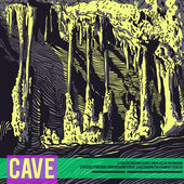 Vector template with text and illustration karst cave, stalactite, stalagmite, column. Acid colors — Stock Vector