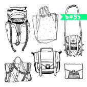 Vector black and white set with original bags — Stock Vector
