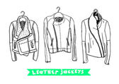 Vector black and white set with original leather jackets — Stock Vector