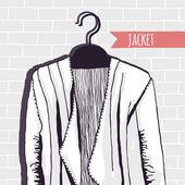 Vector illustration, jacket, brick wall — Stock Vector