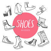 Black and white vector set with women's shoes and pink circle — Stock Vector