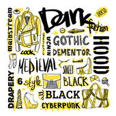 Vector black, white and yellow doodle set, dark fashion, cyberpunk, style — Stock Vector