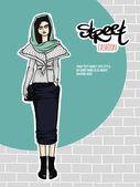 Vector illustration girl, street fashion look — Stock Vector
