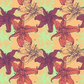 Lilies floral seamless hand drawing pattern — Stok Vektör