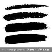 Conjunto de borrones de transferencia pincel grunge de dibujado a mano — Vector de stock