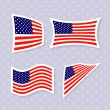 Set of stylish american flags. — Stock Vector #48171617