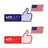 Set of thumb up hold american flag icon. — Stock Vector