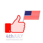 Thumb up hold american flag icon. — Stock Vector