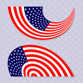 Set of stylish american flags. — Stock Vector