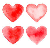 Set of Colorful Red Watercolor Hearts — Vector de stock