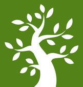 Vit fet träd ikonen på grön bakgrund — Stockvektor