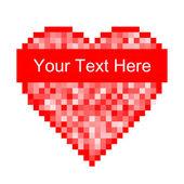 Röd pixel hjärta ikon — Stockvektor