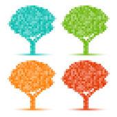 Set of Colorful Season Tree pixel icons — Stok Vektör