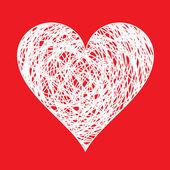 White hand drawn heart — Stock Vector