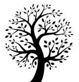 Svart trädikon — Stockvektor