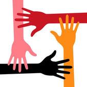 Färgglada fyra händer ikonen — Stockvektor