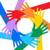 Regnbågens färger händer ikonen — Stockvektor