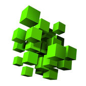 Abstract composition of green 3d cubes. — Stock Vector