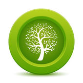 Green tree button — Stok Vektör