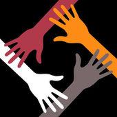 Siyah arka plan üzerinde renkli dört el simgesi — Stok Vektör