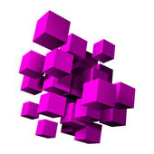 Abstract composition of purple 3d cubes. — Stock Vector