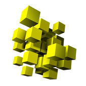 Abstract composition of yellow 3d cubes. — Stock Vector
