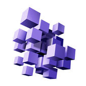 Abstract composition of violet 3d cubes. — Stock Vector