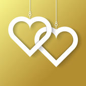 Two Hearts applique on gold background — Stockvector