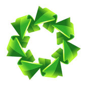 7 green recycling arrows — Stock vektor