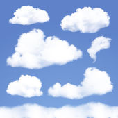 Set of Realistic Clouds on blue sky. — Stock Vector