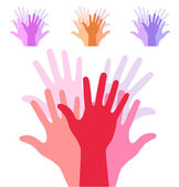 Set of colorful up hands silhouette — Stock Vector