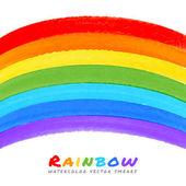 Rainbow Watercolor Brush Smears, — Stock Vector