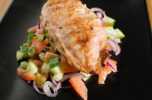 Grilled chicken with panzanella salat — Foto Stock