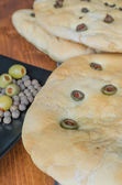 Focaccia with olives — Stockfoto