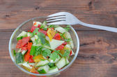 Cucumber salad wit coriander — Stock Photo