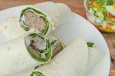 Wrap with pork meal, creame and romaine lettuce — Foto Stock