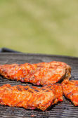 Spareribs on grill with hot marinade — Foto Stock