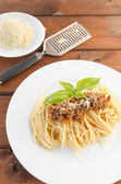 Spaghetti Bolognese on wood table — Foto Stock