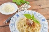 Spaghetti Bolognese on wood table — Stock Photo