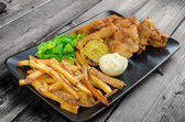 Fish and chips with homemade mayonnaise — Stock Photo