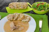 Chicken in cream sauce with dumplings — Stock Photo