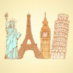 Sketch Eifel tower, Pisa tower, Big Ben and Statue of Liberty, v — Stock Vector #46554881