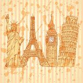 Эскиз Эйфелева башня, башня Пизы, Биг Бен и статуя свободы, v — Cтоковый вектор
