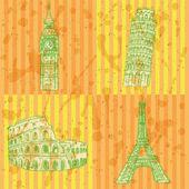 Sketch Eifel tower, Pisa tower, Big Ben and Coliseum, vector set — Stock Vector