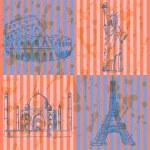 Sketch Eiffel tower, Coliseum,Taj Mahal and Statue of Liberty, v — Stock Vector #46614779
