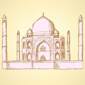 Sketch Taj Mahal, vector vintage background  — Wektor stockowy