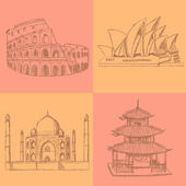 Sketch Chinese temple, Coliseum,Taj Mahal and Sydney opera, vect — Stock Vector