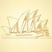 Sketch Sydney opera, vector  background eps 10 — Stock Vector
