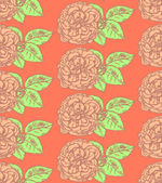 Sketch rose with leaves, vector  seamless pattern — Vector de stock