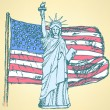 Sketch USA flag and Statue of Liberty, vector background — Stock Vector #46826997
